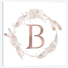 Letter B Rose Gold Pink Initial Monogram Art Print by Nature Magick - X-Small Monogram Stickers, Monogram Letters, Monogram Canvas, Door Letters, Monogram Notebook, Rose Gold Pink, Canvas Art Prints, Just For You, Lettering