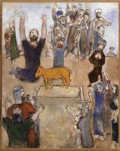 Marc Chagall - The Hebrews adore the golden calf, 1931