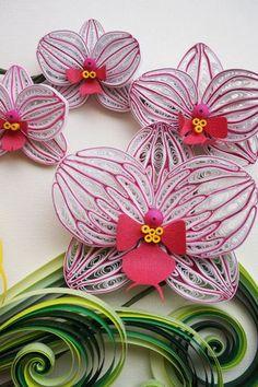 Papier fait main quilling orchidées encadrées dans par SinyeeCraft