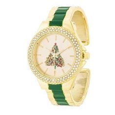 Green And Gold Metal Christmas Tree Cuff Crystal Metal Watch ** Click image to review more details.