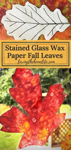 Make Stained Glass Wax Paper Leaves! - Loving the Home Life - Craft ideas, Wax Paper Crafts, Crayon Crafts, Paper Crafting, Easy Fall Crafts, Fall Crafts For Kids, Kid Crafts, Preschool Crafts, Holiday Crafts, Making Stained Glass