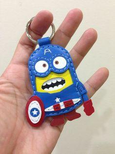 神偷奶爸 2 Despicable Me 2 Minion 小小兵 黃色 美國隊長 藍衣服 Dave 手工皮革 鑰匙圈 - 設計師品牌 leatherprince - Pinkoi