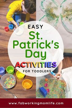Lucky Clover and Rainbow Sorting St. Patrick's Day Crafts for Toddlers and Preschoolers - Fab Workin - Check out these Easy St. Patrick's Day Activities for Toddlers! Here are some ideas: St. Patrick's Day Rainbow Sorting Preschooler Activity Outdoor Activities For Kids, Holiday Activities, Toddler Activities, Bonding Activities, Spring Activities, Toddler Preschool, Toddler Crafts, Preschool Activities, Creative Activities