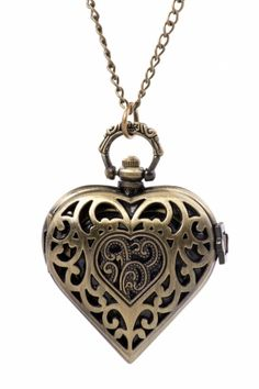 Prachtige vintage style lange ketting montre coeur bronze ketting from paris with love! antieklook costume ...