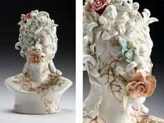 Haunting Ceramic Faces Overgrown with Vegetation by Jess Riva Cooper  http://www.thisiscolossal.com/2014/04/viral-series-jess-riva-cooper/