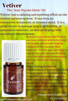 In a study conducted in 2001 by Dr. Terry Friedman, several essential oils were used to determine their effectiveness for common behavioral challenge in children. Vetiver was found to be the most effective in observations and brain wave scans – showing improvements in 100% of subjects! Cedarwood essential oil was 83% effective, and lavender 53%. For more information or to sign up with Young Living go to: http://oilsfromtheearth.blogspot.com