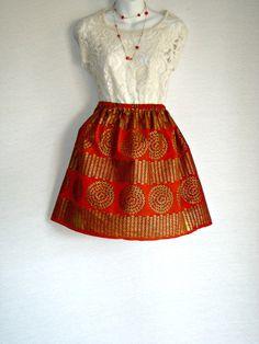 Royal Orange and Gold African Print Short Summer Skirt