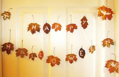 Rustic Halloween Bunting out of leaves