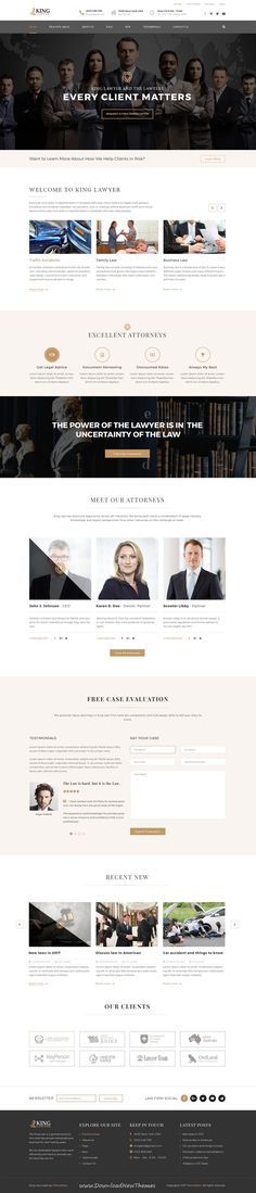 Kinglaw is clean and modern design PSD template for #attorney and #lawyers website with 4 homepage layouts and 23 layered PSD pages to live preview & download click on Visit #webdesigns