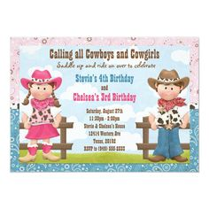 cowboys and cowgirls Cute Cowboy and Cowgirl Joint Sibling Birthday Party Invitation. This western themed invitation features a cowboy and cowgirl and can be personalized with your Combined Birthday Parties, Sibling Birthday Parties, Joint Birthday Parties, Cowboy Birthday Party, Cowgirl Party, Cowboy And Cowgirl, Birthday Party Themes, Birthday Ideas, 5th Birthday