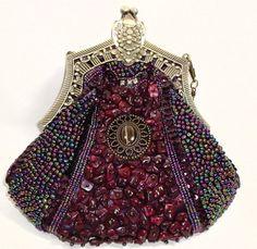 Vintage Style Fully Beaded Handmade Purple Evening Handbag Purse With Shoulder Chain  $35.49