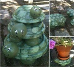 Clay Pot Turtles how cute