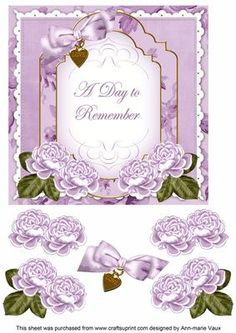 Lilac Rose Date to Remember Fancy 7in Decoupage Topper on Craftsuprint - Add To Basket!