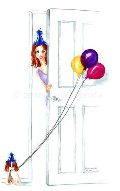 Surprise Birthday by JoanaMirandaStudio Birthday Greetings, Birthday Wishes, Birthday Cards, It's Your Birthday, Happy Birthday, Surprise Birthday, Princess Style, Happy Weekend, Cute Drawings