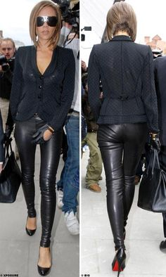 Victoria Beckham in leather pants & stilettos! Pelo Corto Victoria Beckham, Victoria Beckham Short Hair, Style Victoria Beckham, David And Victoria Beckham, Victoria Beckham Hairstyles, Tight Leather Pants, Leather Pants Outfit, Leather Trousers, Leather Jackets
