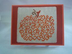 Pumpkin Alphabet hand stitched card by HMCrafters on Etsy