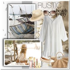 The Rustic Beach Party by pmcdl on Polyvore featuring polyvore fashion style Chicwish Capelli New York Straw Studios Michael Kors Lucky Brand MICHAEL Michael Kors rustic michaelkors beachstyle whitedress springfashion