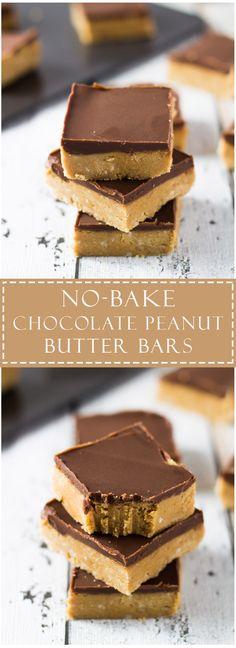 no bake desserts: No-Bake Chocolate Peanut Butter Bars Chocolate Peanut Butter Cheesecake, Peanut Butter Bars, Peanut Butter Recipes, Chocolate Cake, Chocolate Butter, Peanut Butter Squares, Köstliche Desserts, Delicious Desserts, Dessert Recipes