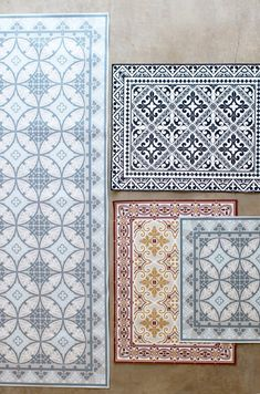 "Imported from france - these vinyl floor mats are inspired by vintage moroccan tiles. available in an assortment of prints. they make great door mats, kitchen mats, everything mats. - 28"" x 48"" to cle"