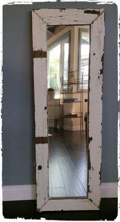 Distressed White Wood Frame w/Mirror