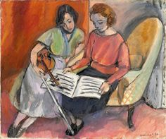 ▫Duets▫ sisters, twins & groups of two in art and photos - Henri Matisse | The Music Lesson, Two Women Seated on a Divan, 1921