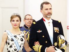 royalwatcher:  Gala Dinner for Queen Margrethe's 75th Birthday, Denmark, April 15, 2015-Queen Letizia, wearing the Ansorena Tiara, and King Felipe of Spain