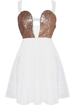 Walk of Fame Dress: Features bold white straps which cross over at the back twice, sparkling bronze sequin bodice divided in the middle by another strap for a cute peekaboo effect, and a twirl-worthy A-line skirt to finish.