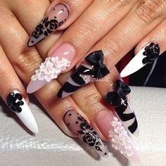 Pretty black and white negative space stilettos with bows