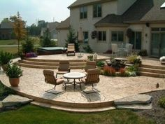 Patio Love The Steps Down Tear Cry Old Deck And Do This Instead Home Sweet Pinterest Patios Decking Backyard