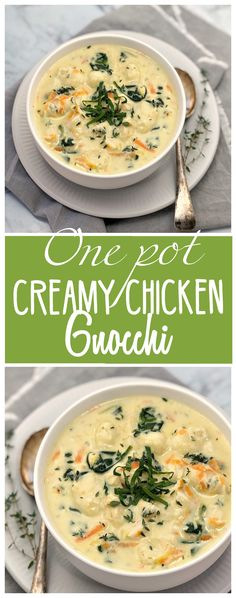 One Pot Creamy Chicken Gnocchi - super quick comfort food all in one pot! Leftover chicken & quick cooking veg means dinner in 35 mins | chefnotrequired.com #familymealideas #leftovers #loveyourleftovers #chicken #gnocchi #leftoverchicken
