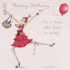 Berni Parker ·· Happy Birthday to a lady who loves to party. Happy Birthday Woman, Happy Birthday Funny, Friend Birthday, Birthday Congratulations, Happy Birthday Wishes Cards, Happy Birthday Pictures, Birthday Cards, Happy B Day, Birthday Quotes
