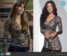 Gloria's metallic leopard print top on Modern Famly Modern Family Sofia Vergara, Snake Skin Dress, Leopard Print Top, Metallic, Bodycon Dress, Fashion Outfits, Stylish, Bangs, Prints
