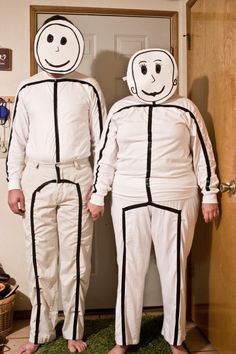 Stick figures couple's costume