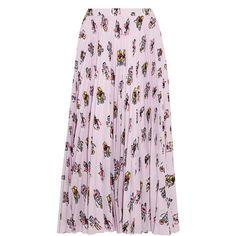 Prada Printed plissé-crepe de chine midi skirt (32.342.415 IDR) ❤ liked on Polyvore featuring skirts, baby pink, colorful midi skirts, pink skirt, prada, prada skirt and pastel midi skirt