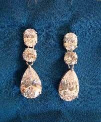 Rhodium Dangle Earrings - Earrings - $39.00