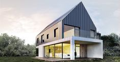 Retail w second level office Modern Barn House, Modern Bungalow, Modern House Design, Construction Chalet, Woodland House, Contemporary Barn, Box Houses, Cottage Design, Facade House