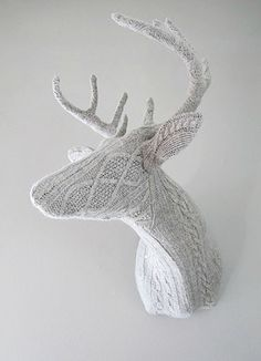 'Domestic Trophies', grey Stag, angora wool: Rachel Denny