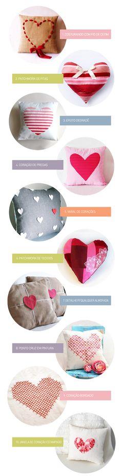Que tal uma almofada de coração para a sua casa ? Garimpamos 10 modelos e no final clique nos links para ver os tutoriais e fazer você mesma !  Clique na legenda abaixo e veja o tutorial de cada almofada: 1  2  3  4  5…