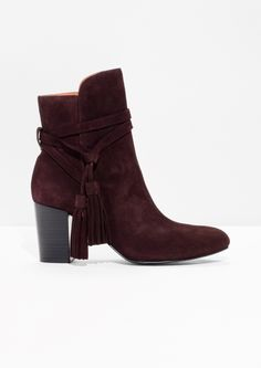 Other Stories image 1 of Tassel Detail Suede Ankle Boots in Burgundy