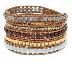 Aqua Terra Mix Sectioned Wrap Bracelet on Bronze Leather - Chan Luu