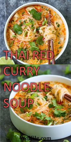THAI RED CURRY NOODLE SOUP - This soup is packed with so much flavor with bites of tender chicken, rice noodles, cilantro, basil - Soup Recipes, Vegetarian Recipes, Cooking Recipes, Healthy Recipes, Vegetarian Soup, Healthy Soup, Recipes With Pho Noodles, Dinner Healthy, Red Thai Curry Vegetarian