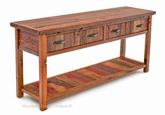 This beautiful barn wood sofa table is made with reclaimed 100 to 150 year old wood. The Midwest has thousands of barns no longer is use as they have been replaced with modern metal pole buildings. The farmers love the barns too much to tear them down so they just let them age gracefully like