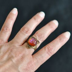 Dragons Breath Glass Opal Ring Vintage glass on by ElvesGarden, $20.00