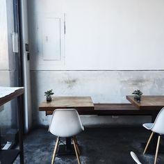 The day started here. @ap_creative #cafescene #apcafe  #brooklyn #newyork #coffee #interiors #minimal #greenlove #igers by meghan_plowman