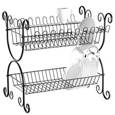 2-Tier Scrollwork Design Matte Black Metal Counter Dish Drying Rack Organizer Review Decor, House Design, Wrought Iron, House Styles, Dish Racks, Plates And Bowls, Kitchen Organization, Stainless Steel Cable, Dish Rack Drying