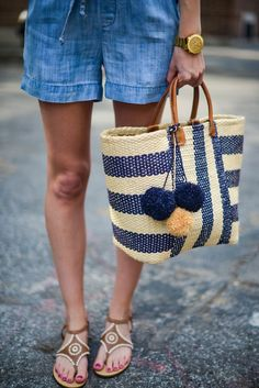 Straw tote perfect for the beach or pool! @katiesbliss