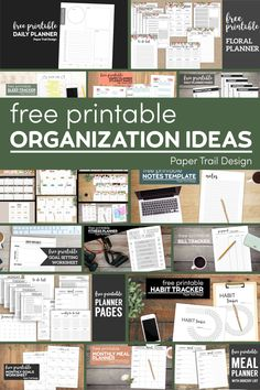 Print these organization ideas to help you stay organized including planners and calendars. Meal Planner Printable, Planner Pages, Printable Paper, Goals Planner, Fitness Planner, Weekly Planner, Tracker Free, Notes Template, Paper Trail