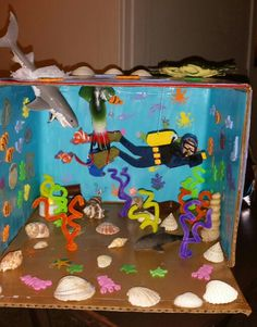 Ocean Diorama Ocean unit Lennon's first grade project Supplies: box, pipe cleaners, glue modge podge, stickers, sea shells, sea creature toys, grocery bag for the water around the shark, color construction paper and a imaginative mind!!!!