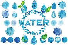 Watercolor blue water logos big set. Water Infographic