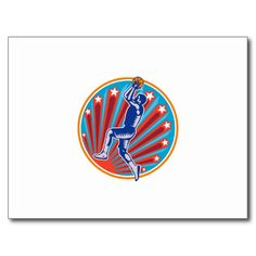 Basketball Player Jump Shot Ball Circle Woodcut re Postcard. Illustration of a basketball player jump shot jumper shooting jumping set inside circle with stars and sunburst on isolated white background. #basketball #woodcut #illustration